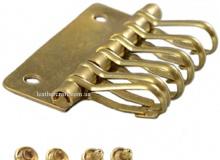 Пластина для ключницы 48 мм, 6 карабинов, латунь, 3315