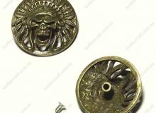 Винтовой декоративный элемент (кончо), 31 мм, индеец, латунь, 5409