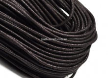 Шнур вощеный, хлопок, 2 и 3 мм, т. коричневый, х/б 100%, 1596