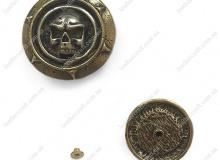 Латунный винтовой декоративный элемент (кончо), 30 мм, череп, 5428